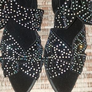 Shoes - Adorable Rhinestone Sandals with Zip Back 7 1/2